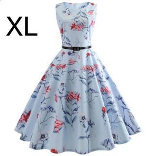 新品☆ベルト付き♪花柄♪ふんわり綺麗ワンピース ブルー XL(ひざ丈ワンピース)