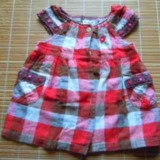 ミキハウス(mikihouse)のmikihouse  女の子用 前開きオーバーオール サイズ80(スカート)