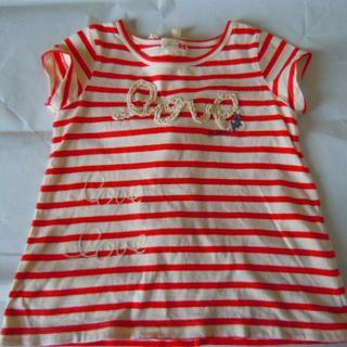 ニットプランナー(KP)のKPニットプランナー 女の子用 Tシャツ(ノンスリーブ風) サイズ100 赤/白(Tシャツ/カットソー)