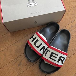 ハンター(HUNTER)のHUNTER ロゴシャワーサンダル ブラック 新品未使用 MSGM BANK(サンダル)