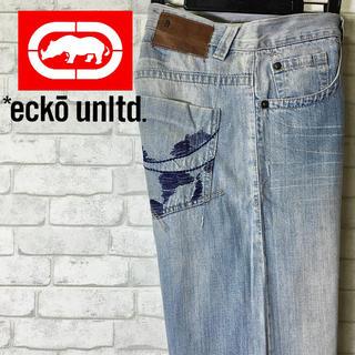 エコーアンリミテッド(ECKO UNLTD)の【ECKO UNLTD】エコー ウォッシュ加工 デニムパンツ 刺繍 /32(デニム/ジーンズ)
