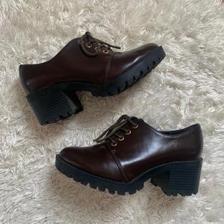 ヘザー(heather)のレースアップマニッシュ ブラウン(ローファー/革靴)