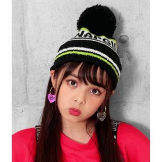 アナップキッズ(ANAP Kids)のANAP GiRLアナップガール☆ ライン配色ニット帽★ポンポン付きニット帽(帽子)
