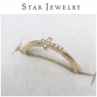 スタージュエリー(STAR JEWELRY)のスタージュエリー K18 クロス ピンキーリング 3号 ダイヤモンド 十字架(リング(指輪))
