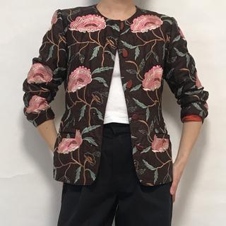 ヴィンテージ 刺繍 フェイクレザー ジャケット チャイナジャケット 花柄