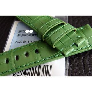 パネライ(PANERAI)のPANERAI パネライ 純正 22mm 尾錠用 アリゲーター ベルト 緑×緑(レザーベルト)