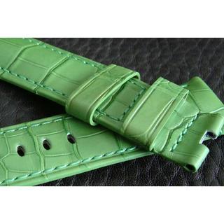 パネライ(PANERAI)のPANERAI パネライ 純正 24mm Dバックル用 アリゲーター ベルト 緑(レザーベルト)