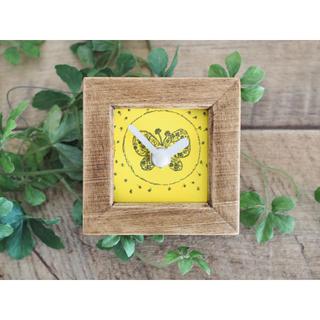 ミナペルホネン(mina perhonen)のミナペルホネン ミニ時計 ハンドメイド forest wing(インテリア雑貨)