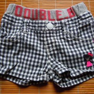 ミキハウス(mikihouse)のmikihouse 女の子用 半ズボン サイズ100 黒/白チェック(パンツ/スパッツ)