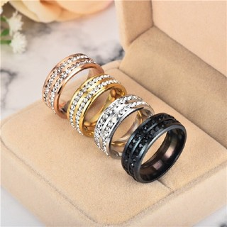 輝くスワロ2連巻きサージカルテンレス製リング指輪(リング(指輪))