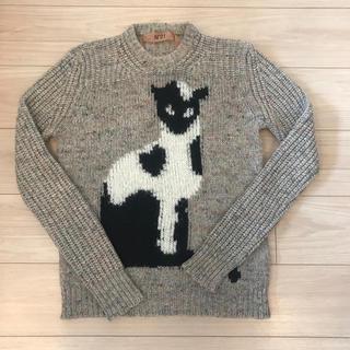 ヌメロヴェントゥーノ(N°21)のN°21 ヌメロヴェントゥーノ 猫柄 シルク アルパカ混 長袖 ミックスセーター(ニット/セーター)