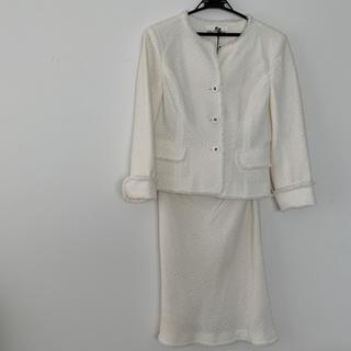 クレージュ(Courreges)のクレージュ ホワイト白 ツイードスーツ ミモレ丈 オケージョンスーツ(スーツ)