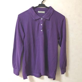 スピンズ(SPINNS)のポロシャツ 長袖 パープル 春服 レディース メンズ 新品未使用 古着(ポロシャツ)