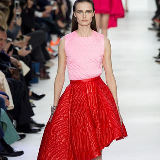 クリスチャンディオール(Christian Dior)の美品 Dior ディオール 14FW ピンク シルクトップス 36 ラフシモンズ(Tシャツ(半袖/袖なし))