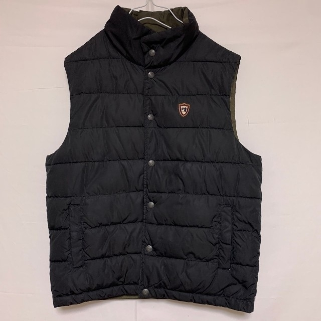 SCOTCH & SODA(スコッチアンドソーダ)のスコッチ&ソーダ リバーシブル ダウン ベスト 黒 ブラック カーキ メンズのジャケット/アウター(ダウンベスト)の商品写真