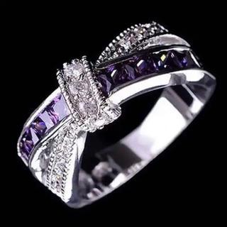 AAAランク アメジスト ダイヤモンドcz リング 指輪(リング(指輪))