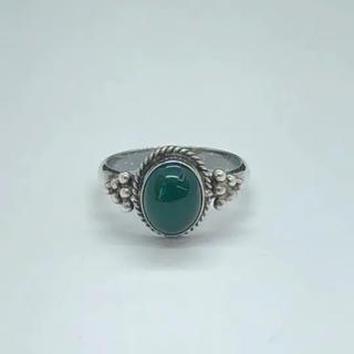 1980年代 925 グリーン天然石 シルバーリング SR014(リング(指輪))