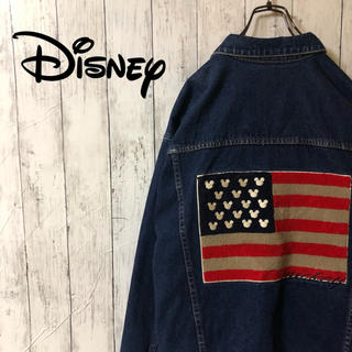 ディズニー(Disney)の【超激レア】ディズニーDisney☆ミッキー 刺繍ビッグロゴ デニムジャケット(Gジャン/デニムジャケット)
