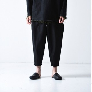 サンシー(SUNSEA)のYANTOR Denim 1 Tuck Pants black green  (デニム/ジーンズ)