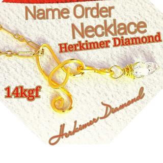 アガタ(AGATHA)の14kgf ネームオーダーネックレス✧お好きな文字でお作りハーキマーダイヤモンド(ネックレス)