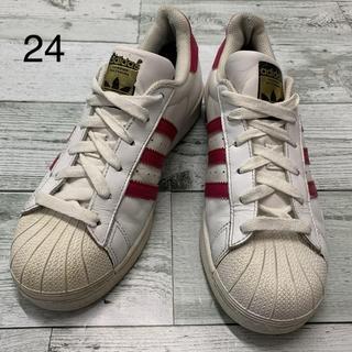 アディダス(adidas)の(No.471) 24cm アディダス スーパースター 白・ピンク(スニーカー)