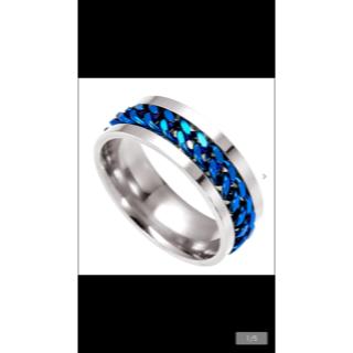 ブルーチェーン パンク鎖網 シルバーリング(リング(指輪))