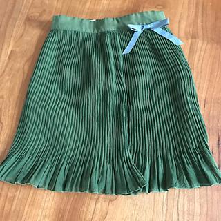 女の子100㎝ヒラヒラして裾とウエストリボンがかわいいグリーンスカート(スカート)