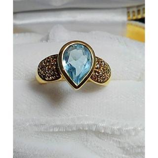 値下げ k18 ブルートパーズとメレダイヤの指輪(リング(指輪))