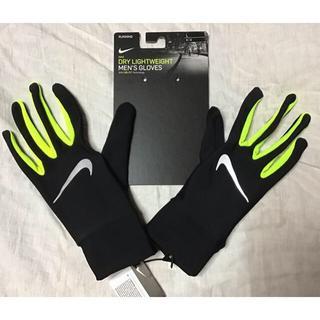 ナイキ(NIKE)の★新品★NIKE 手袋グローブ(L)黒x蛍光黄色ブラックxボルトネオンイエロー(手袋)