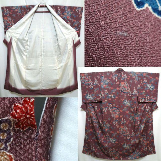 渋めの紫色に紅型調 小紋 レディースの水着/浴衣(着物)の商品写真