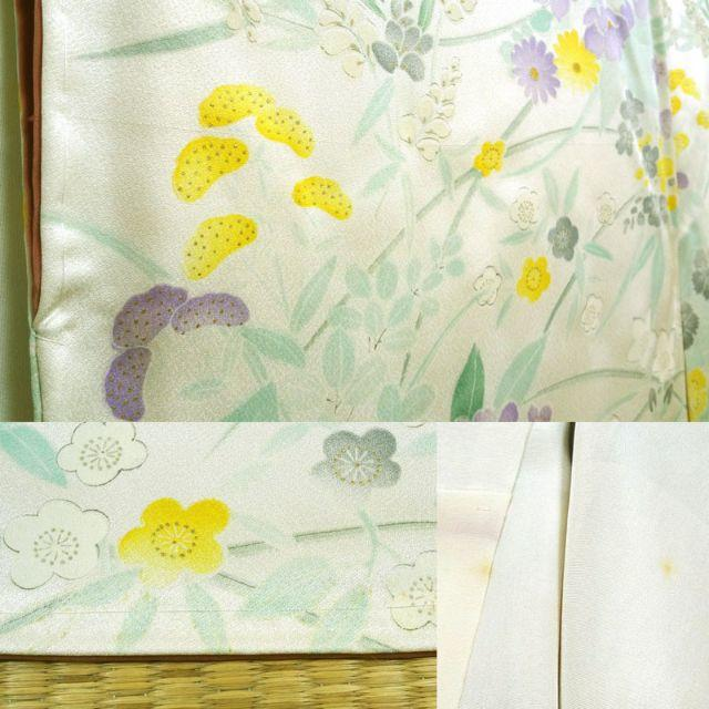 ほんのりクリーム色がかった白地に草花 小紋 レディースの水着/浴衣(着物)の商品写真