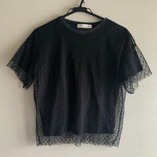 センスオブワンダー(sense of wonder)のチュールTシャツ ドットチュールトップス(Tシャツ(半袖/袖なし))