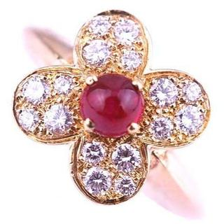 ヴァンクリーフアンドアーペル(Van Cleef & Arpels)のヴァンクリーフ & アーペル トレフル ルビー ダイヤモンド リング K18YG(リング(指輪))
