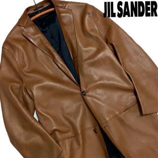 ジルサンダー(Jil Sander)の【ジルサンダー 】レザージャケット イタリア製 ブラウン(レザージャケット)