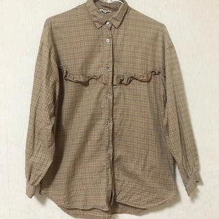 古着 フリルチェックシャツ(シャツ/ブラウス(長袖/七分))