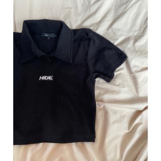 ミックスエックスミックス(mixxmix)のHIDE ロゴポイントTシャツ 黒(Tシャツ/カットソー(半袖/袖なし))