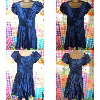 ブルー ネイビー系 素敵 エレガントドレス ワンピース ラージサイズ 5着セット(ミディアムドレス)
