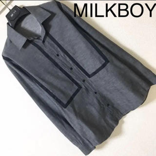 ミルクボーイ(MILKBOY)の◆MILKBOY ミルクボーイ◆サテンテーピング シャツ 麻混 リネン混 長袖(シャツ)