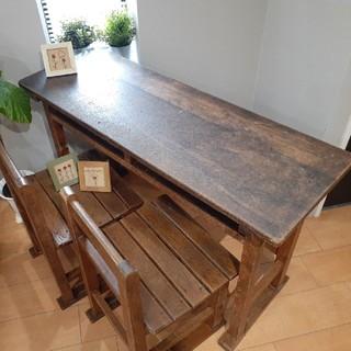 アンティークレトロ学校の木製無垢材机椅子のセット(学習机)