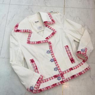 ルネ(René)の☆美品☆Rene ルネ ショートジャケット コットン ツイード 白xピンク(テーラードジャケット)