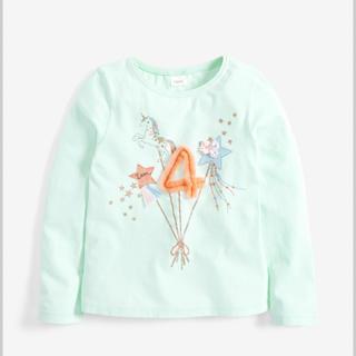 """ネクスト(NEXT)のnext """"I am 4 """"長袖シャツ ミントグリーン 98〜104cm(Tシャツ/カットソー)"""