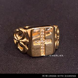 k18 リング クロス 18金 天然石 ダイアモンド リング メンズ 大きめ(リング(指輪))