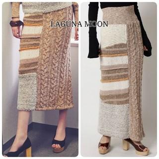 ラグナムーン(LagunaMoon)のLAGUNA MOON アシメデザイン ニット ロングスカート(ロングスカート)