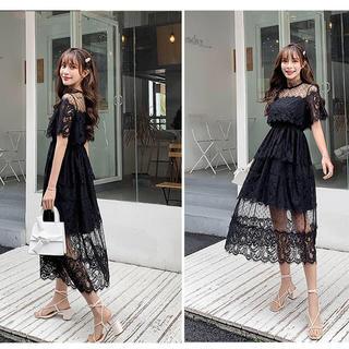 デイジーストア(dazzy store)の総レースロングドレス ブラック(ロングワンピース/マキシワンピース)