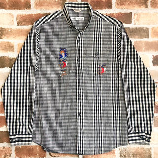 アンジェロガルバス(ANGELO GARBASUS)のアンジェロ ガルバス マルチチェックシャツ 長袖 アシンメトリー 刺繍(シャツ)