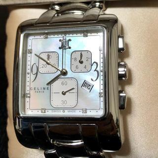 セリーヌ(celine)のカレ クロノグラフ ホワイトパール 8Pダイヤ 美品 ブルガリケース(腕時計)