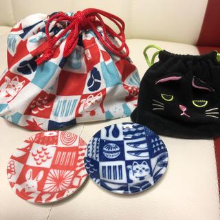 カルディ(KALDI)のカルディ 猫 豆皿セット 巾着(収納/キッチン雑貨)