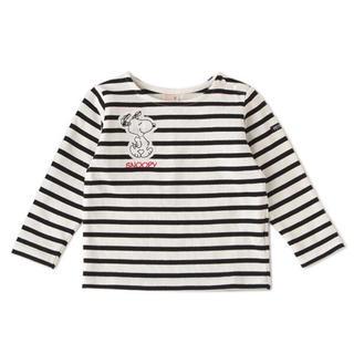 プティマイン(petit main)のスヌーピーボーダーT 黒 100センチ(Tシャツ/カットソー)