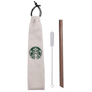 スターバックスコーヒー(Starbucks Coffee)の【新品】台湾スターバックス限定 チタンストローセット ローズゴールド(太い)(カトラリー/箸)