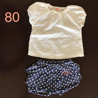 エーアーベー(eaB)の半袖 トップス e.a.B ショートパンツ 80サイズ 2枚セット(Tシャツ)